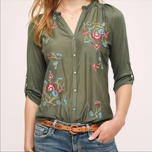 TINY Olive Green Embroidered Top size XS
